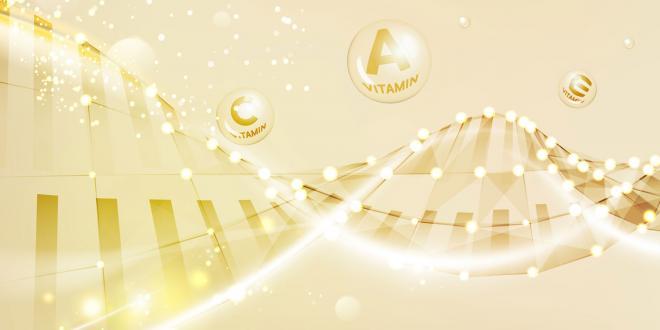 vitamin molecules and dna strand